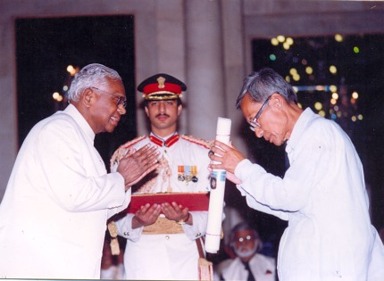 eceiving Padmashri in 1999 by the then president of India K.R. Narayan
