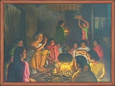 Telling of folk tales (phoonga / Funga wari leeba)