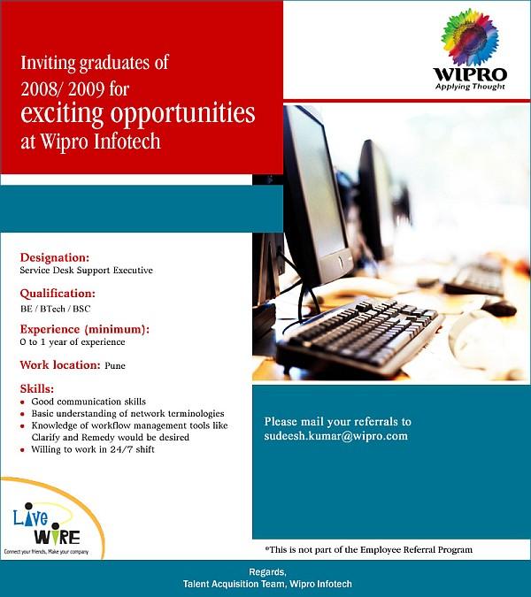 Apply resume in wipro